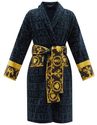 Versace I Love Baroque Logo-jacquard Cotton Bathrobe - Navy