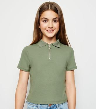 New Look Girls Zip Neck Polo Shirt
