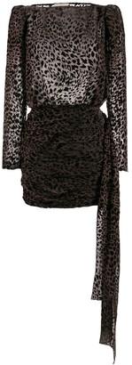Giuseppe di Morabito Ruched Leopard Print Dress