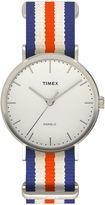 Timex Weekender Fairfield Mens Orange Blue and White Stripe Fabric Strap Watch