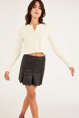 Urban Outfitters Faux Leather Box Pleat Mini Skirt