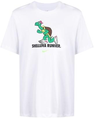 Nike Slogan-Print Short-Sleeved T-Shirt