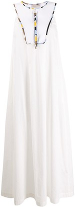 Emilio Pucci Contrast-Bib Sleeveless Maxi-Dress