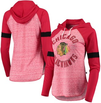 Women's Touch Red Chicago Blackhawks Opening Day Raglan Long Sleeve Hoodie T-Shirt