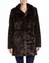 Ellen Tracy Faux-Fur A-Line Coat
