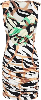 Roberto Cavalli Wrap-effect Ruched Printed Stretch-jersey Mini Dress