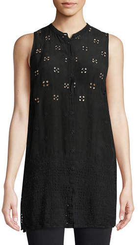 Johnny Was Darla Sleeveless Long Button-Front Tunic, Plus Size