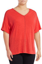 Lord & Taylor Plus Double V-Neck Linen-Blend Tee