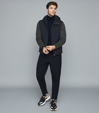 Reiss Shapley - Hooded Jacket With Knitted Sleeves in Navy