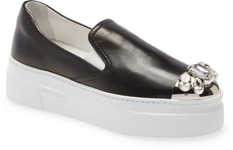 Miu Miu Crystal Cap Toe Platform Slip-On Sneaker