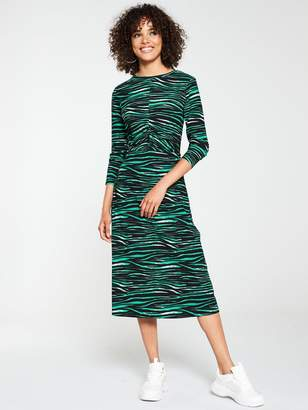 Very Ruched Midi Animal Print Dress - Green