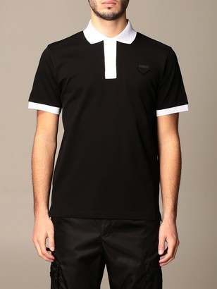 Prada Polo Shirt In Piqueacute; Cotton With Contrasting Profiles