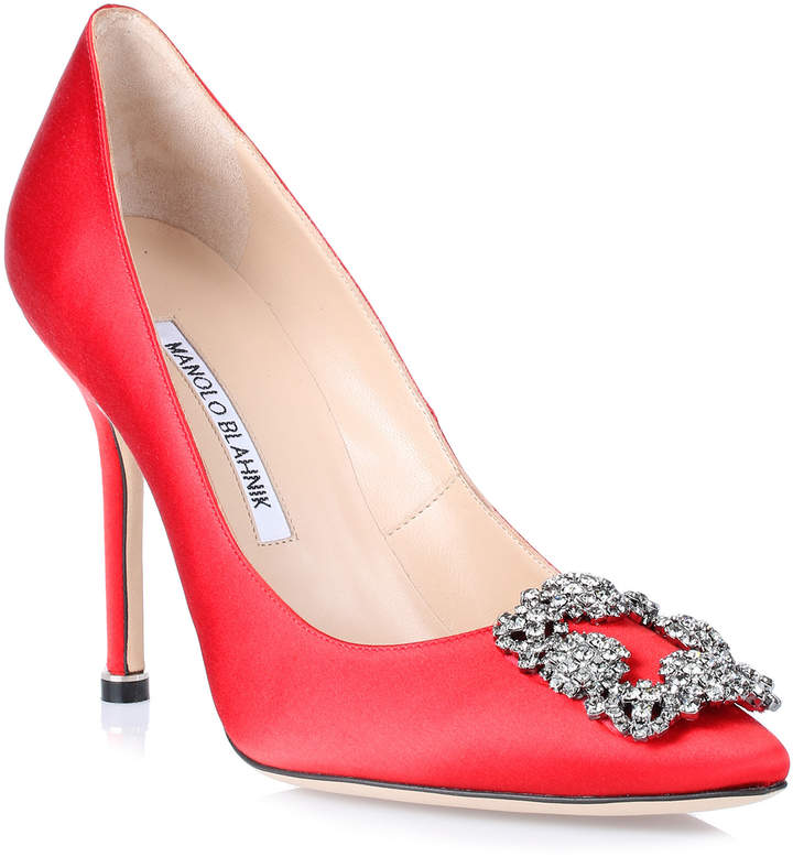 Manolo Blahnik Hangisi 105 red satin grey crystal pump