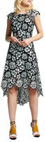 Kay Unger Floral Pattern Asymmetric Dress