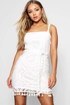 boohoo Tassel Trim Crochet Lace Mini Dress