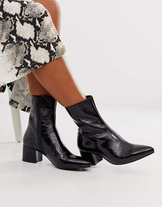 Vagabond Mya patent mid heeled ankle boots in black leather