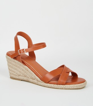 New Look Leather-Look Cross Strap Espadrille Wedges