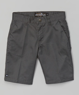 Micros Charcoal Clifford Flat Front Walk Shorts - Boys