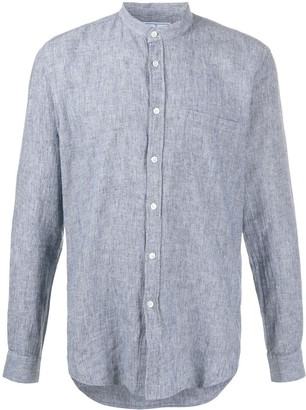 Portuguese Flannel Mao band-collar pinstriped shirt