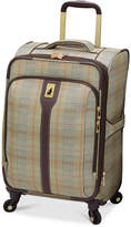 """London Fog Knightsbridge 21"""" Carry On Expandable Spinner Suitcase, Available in Brown and Grey Glen Plaid, Created for Macy's"""