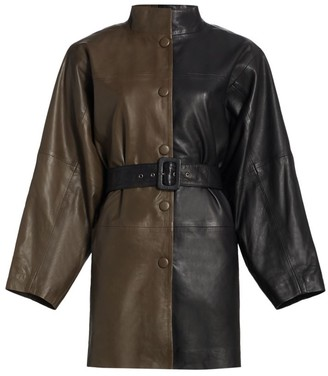 Gestuz Suri Leather Colorblock Safari Coat