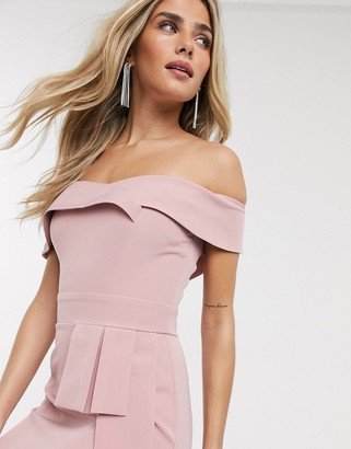 Paper Dolls bandeau wiggle dress with obi detail in blush