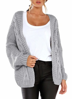 Jolicloth Womens Open Front Autumn Chunky Wide Knitted Cardigan Long Sleeve Top V Neck Sweater Pink UK 10 12