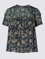 Marks and Spencer Ditsy Floral Print Velvet T-Shirt