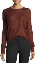 Helmut Lang Distressed Cashmere Pullover Sweater, Pomegranate