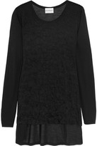 DKNY Paneled Crinkled-Jersey And Modal Top