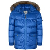 Pyrenex PyrenexBoys Sea Blue Mat Authentic Coat With Fur Trim