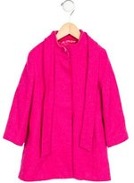 Oscar de la Renta Girls' Wool Tie-Accented Coat