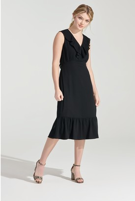 Chiffon Ruffle Neck Midi Dress