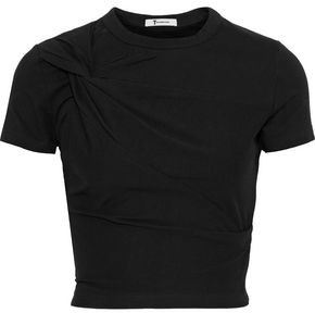 Alexander Wang Cropped Twisted Stretch-cotton Jersey T-shirt