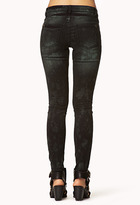 Forever 21 Spiked Acid Wash Skinny Jeans