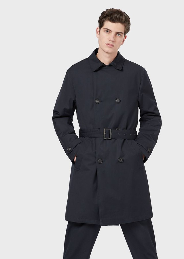 f32a76b3a8 Double-Breasted Trench Coat With Belt