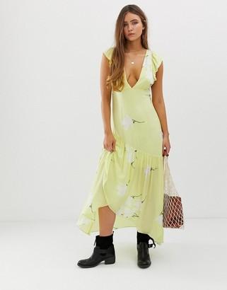 Free People She's A Waterfall maxi dress in lemon-Yellow