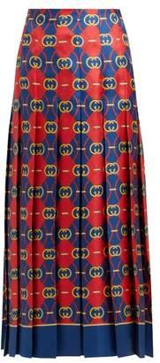 Gucci Gg Jacquard Pleated Silk Faille Midi Skirt - Womens - Red Multi
