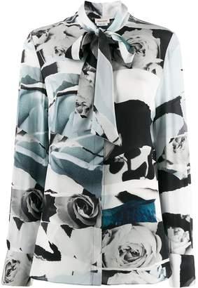 Alexander McQueen rose print pussybow shirt