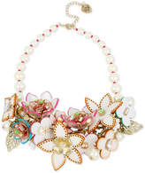 Betsey Johnson Gold-Tone Multi-Crystal & Imitation Pearl Floral Statement Necklace