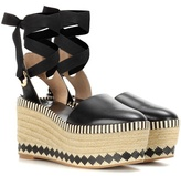Tory Burch Dandy 85mm leather wedge espadrilles
