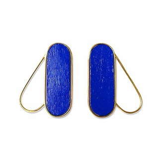 Nathnit Pteron Earrings Vermeil Gold Blue