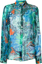 Versace sheer patterned shirt - women - Silk/Polyamide - 38