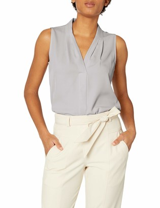 Calvin Klein Women's Sleeveless Blouse with Inverted Pleat (Regular and Plus Sizes)