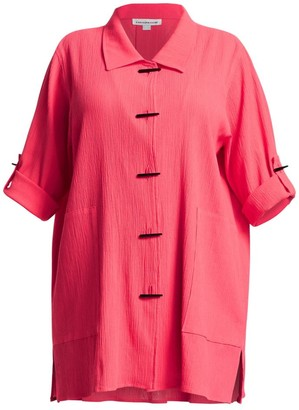 Caroline Rose, Plus Size Crinkle Cotton Long Shirt