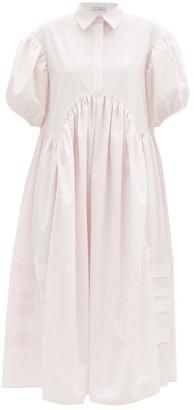 Cecilie Bahnsen Margo Pintucked Cotton-poplin Midi Shirt Dress - Light Pink