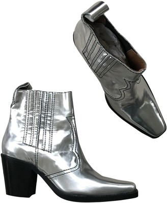 Ganni Fall Winter 2019 Silver Leather Ankle boots