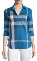 Burberry Long-Sleeve Check Button-Front Shirt, Lupin Blue