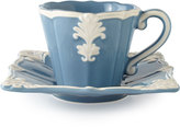 Horchow Blue Square Baroque Cups & Saucers, Set of 4