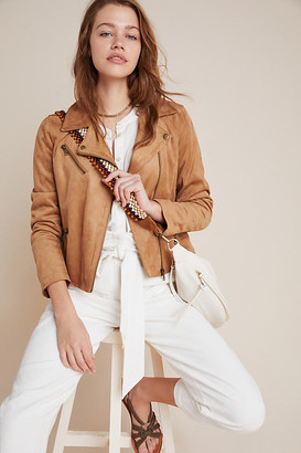 Anthropologie Lucie Sueded Tie-Dye Moto Jacket By in Brown Size XS
